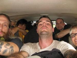 Crammed in a van, Medan, Sumatra, Indonesia